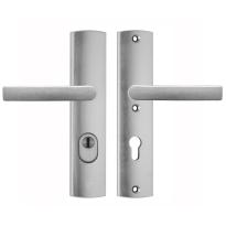 AXA 6665 Curve aluminium kruk/kruk veiligheidsgarnituur voor buitendeuren met kerntrekbeveiliging, PC72