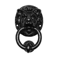Deurklopper leeuwenkop smeedijzer zwart