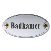 Emaille deurbordje 'Badkamer' ovaal