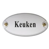 Emaille deurbordje 'Keuken' ovaal