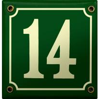 Emaille donkergroen huisnummerbord met crème cijfers, 100x100 mm
