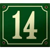 Emaille donkergroen huisnummerbord met crème cijfers, 150x180 mm
