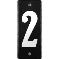 Emaille huisnummer '2' zwart, 100x40 mm