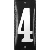 Emaille huisnummer '4' zwart, 100x40 mm