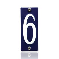 Emaille huisnummer 6 blauw, 40 x 100 mm