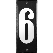 Emaille huisnummer '6' zwart, 100x40 mm