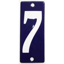 Emaille huisnummer '7' kobalt blauw, 100x40 mm