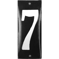 Emaille huisnummer '7' zwart, 100x40 mm