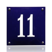 Emaille huisnummer blauw, 100 x 100 mm