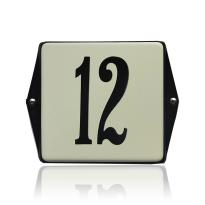 Emaille huisnummer crème, 120 x 120 mm