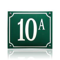 Emaille huisnummer groen, 130 x 100 mm