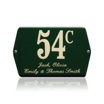 Emaille huisnummer met naam groen, 160 x 120 mm