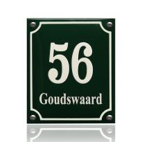 Emaille huisnummer met naam groen, 160 x 190 mm