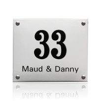 Emaille huisnummer met naam wit, 140 x 100 mm