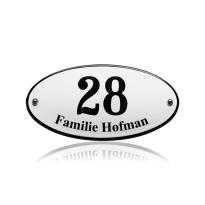 Emaille huisnummer met naam wit, 200 x 100 mm, gebold ovaal