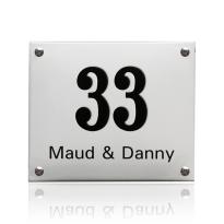 Emaille huisnummer met naam wit, 300 x 200 mm
