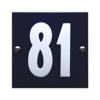 Emaille huisnummer 'Tiel' blauw, 100 x 100 mm