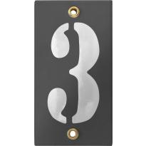 Emaille industrieel grijs huisnummerbord '3' met witte cijfers, 100x40 mm