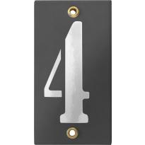 Emaille industrieel grijs huisnummerbord '4' met witte cijfers, 100x40 mm