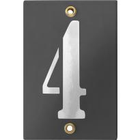 Emaille industrieel grijs huisnummerbord '4' met witte cijfers, 120x80 mm