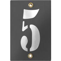 Emaille industrieel grijs huisnummerbord '5' met witte cijfers, 120x80 mm