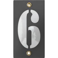 Emaille industrieel grijs huisnummerbord '6' met witte cijfers, 100x40 mm