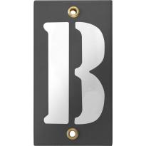 Emaille industrieel grijs huisnummerbord met witte letter 'B', 100x40 mm