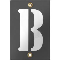 Emaille industrieel grijs huisnummerbord met witte letter 'B', 120x80 mm