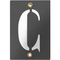 Emaille industrieel grijs huisnummerbord met witte letter 'C', 120x80 mm