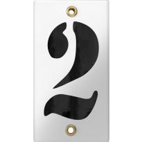 Emaille industrieel wit huisnummerbord '2' met zwarte cijfers, 100x40 mm