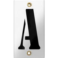 Emaille industrieel wit huisnummerbord met zwarte letter 'A', 100x40 mm
