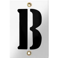 Emaille industrieel wit huisnummerbord met zwarte letter 'B', 120x80 mm