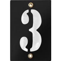 Emaille industrieel zwart huisnummerbord '3' met witte cijfers, 120x80 mm