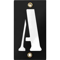 Emaille industrieel zwart huisnummerbord met witte letter 'A', 100x40 mm