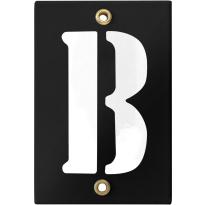 Emaille industrieel zwart huisnummerbord met witte letter 'B', 120x80 mm