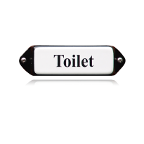 Emaille toilet bordje 'Toilet' model oor, 80x30mm, emaille wit<br /> <br />