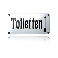 Emaille toilet bordje 'Toiletten' pijl naar boven rechthoekig