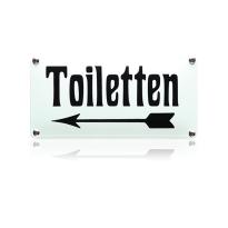 Emaille toilet bordje 'Toiletten' pijl naar links rechthoekig
