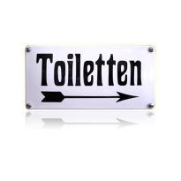 Emaille toilet bordje 'Toiletten' pijl naar rechts rechthoekig