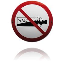 Emaille verbodsbord 'Alcohol drinken niet toegestaan' rond