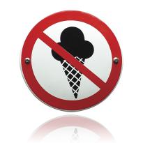 Emaille verbodsbord 'Verboden voor ijs' rond