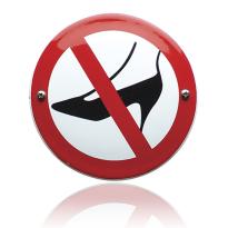 Emaille verbodsbord 'Verboden voor naaldhakken' rond