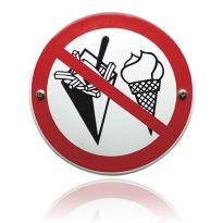 Emaille verbodsbord 'Verboden voor patat en/of ijs' rond