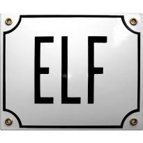Emaille wit huisnummerbord 'ELF' met zwarte letters, 150x180 mm
