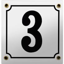 Emaille wit huisnummerbord met zwarte cijfers, 100x100 mm