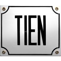 Emaille wit huisnummerbord 'TIEN' met zwarte letters, 150x180 mm