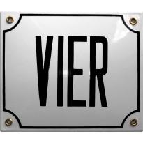 Emaille wit huisnummerbord 'VIER' met zwarte letters, 150x180 mm