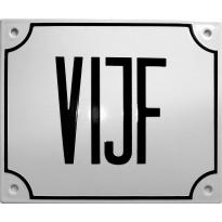 Emaille wit huisnummerbord 'VIJF' met zwarte letters, 150x180 mm
