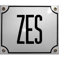 Emaille wit huisnummerbord 'ZES' met zwarte letters, 150x180 mm