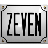 Emaille wit huisnummerbord 'ZEVEN' met zwarte letters, 150x180 mm